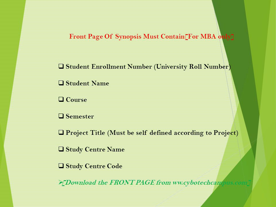 Front Page Of Synopsis Must Contain[For MBA only]